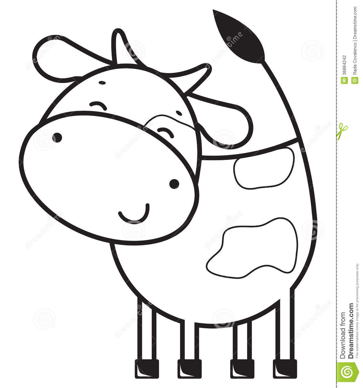 Funny Outline Cow Stock Photography Image 36884242