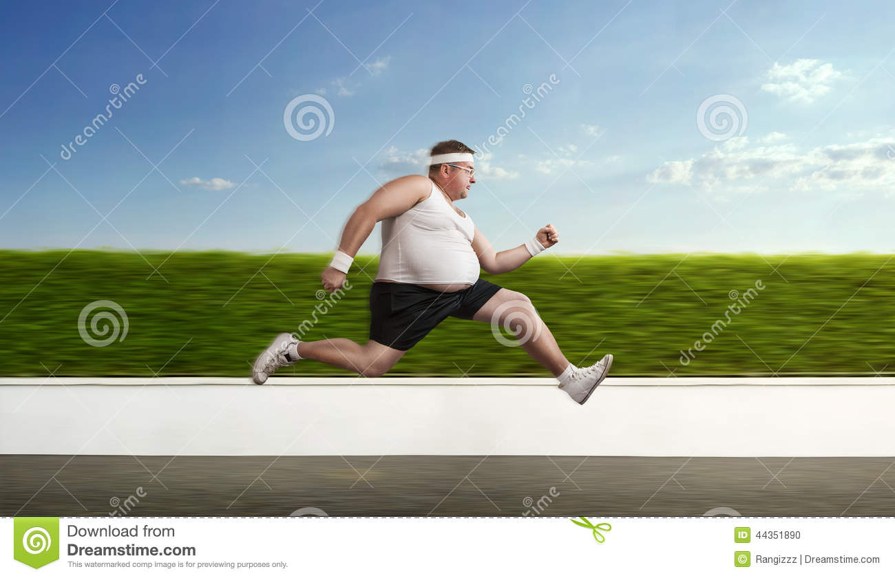 Funny overweight man on the run
