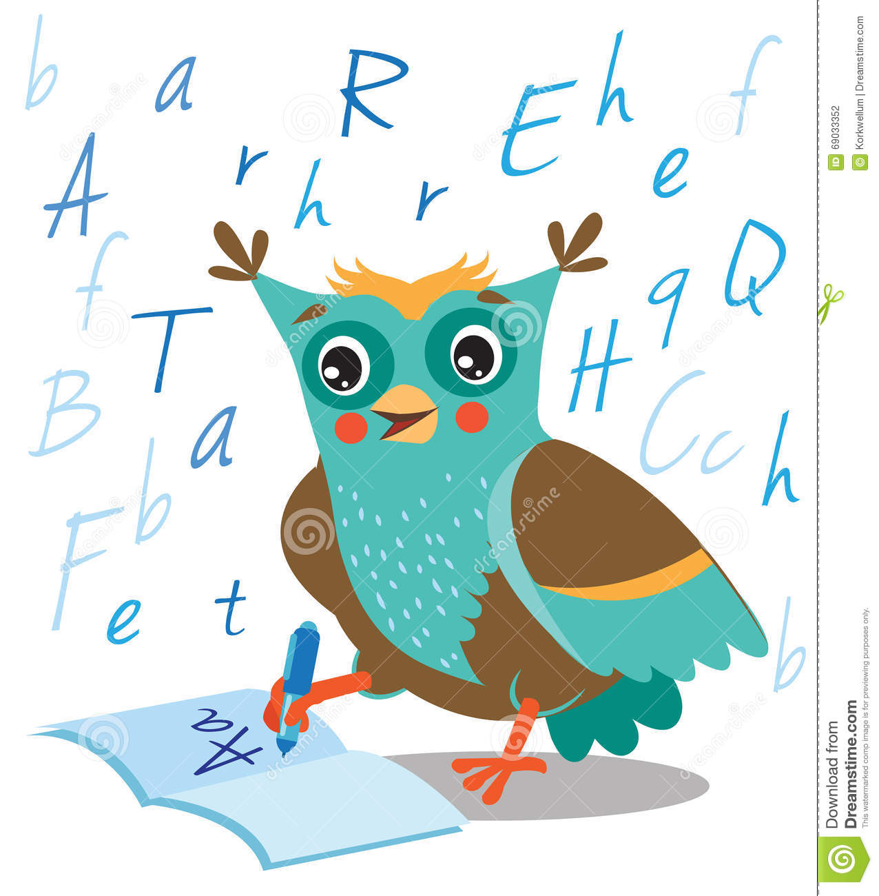 Funny Owl Learn To Write In A Notebook On A White Background  Stock