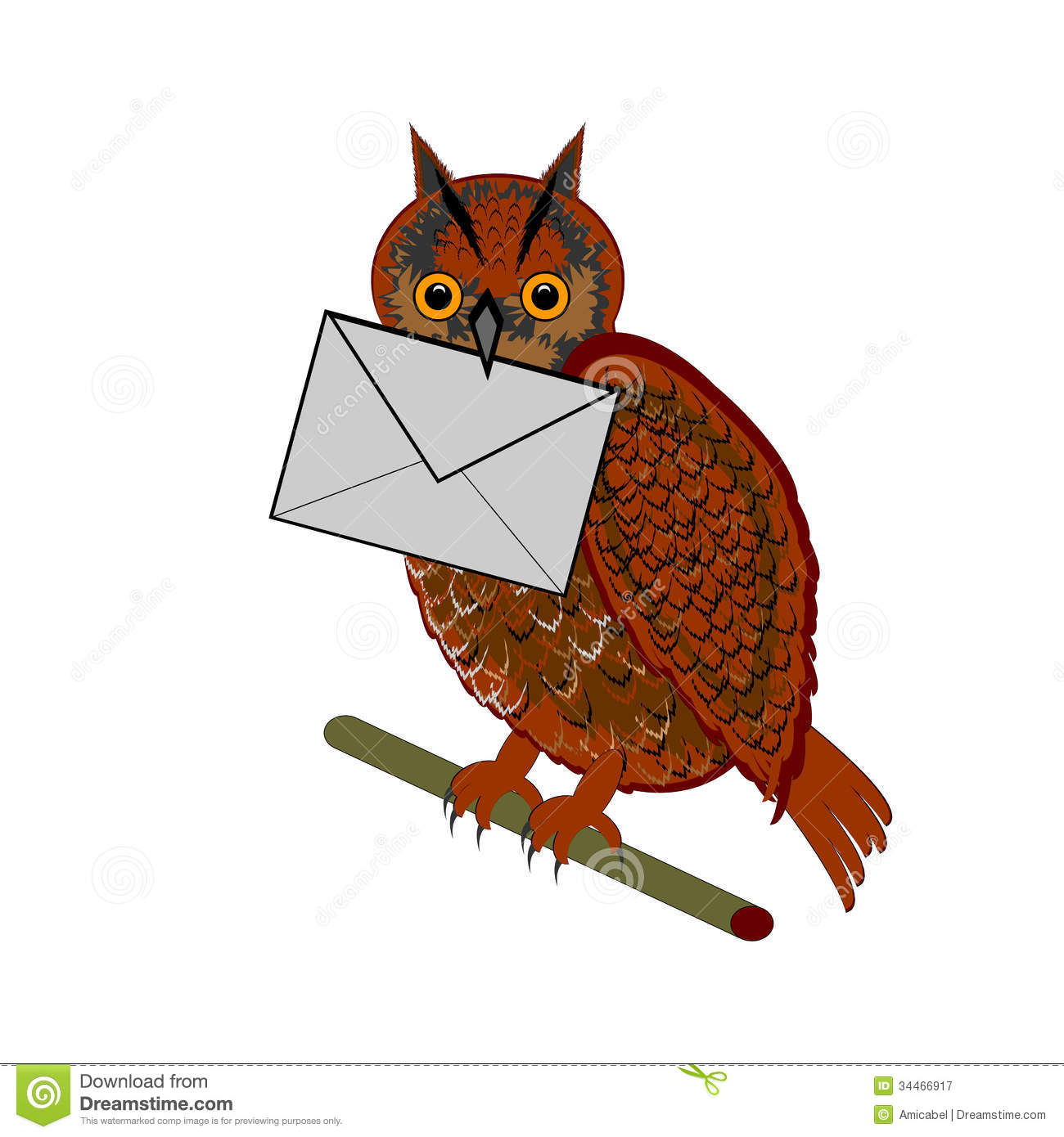 A Funny Owl With A Letter In His Beak Royalty Free Stock ...