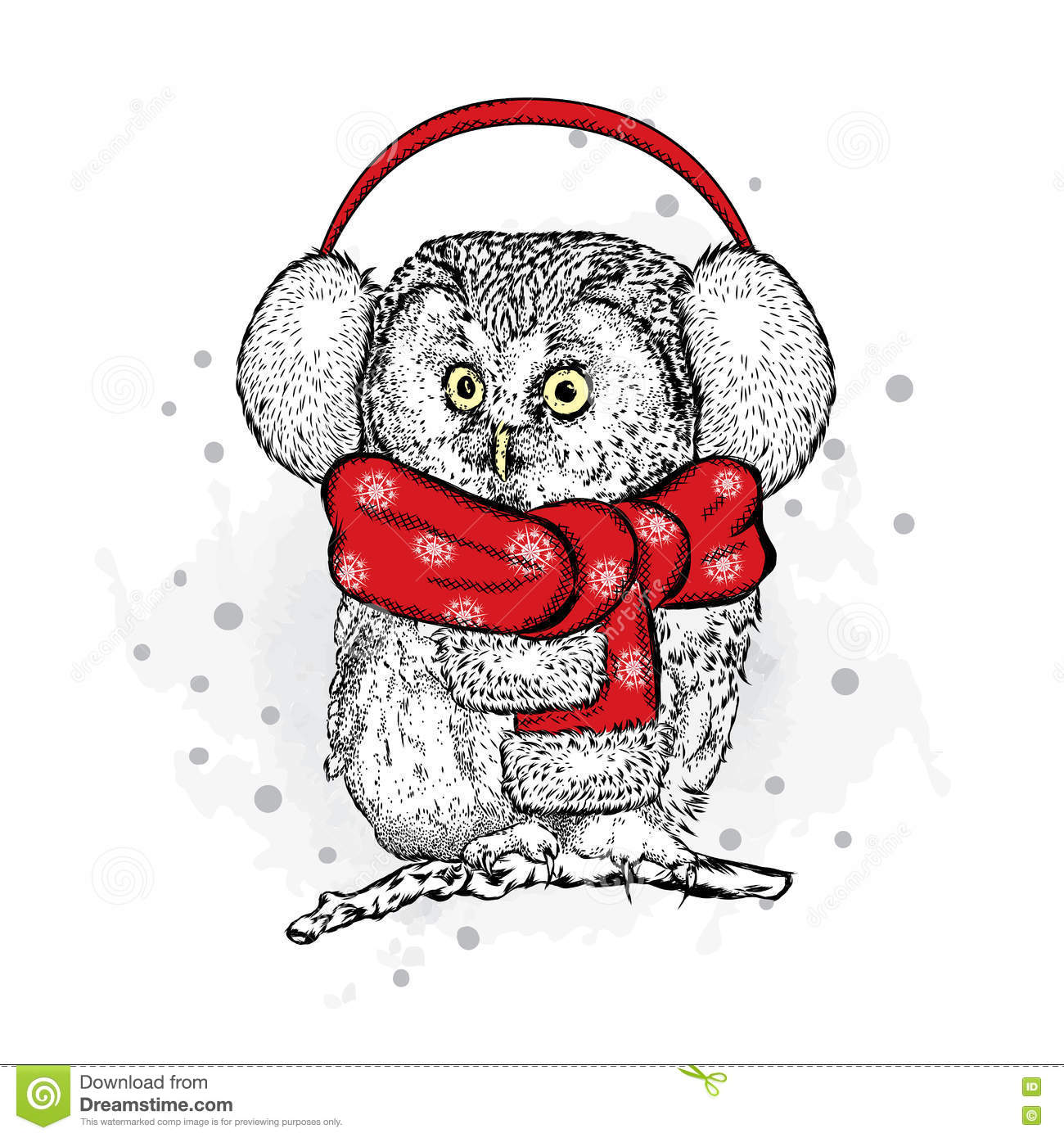 funny owl in the new year with headphones vector illustration christmas and new year