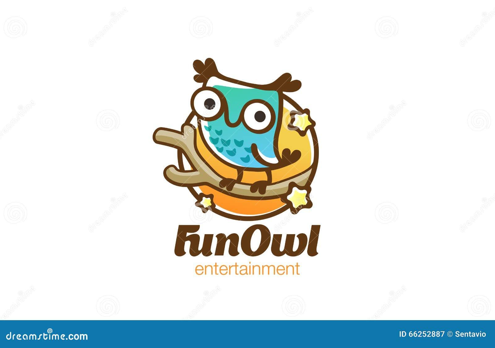 Funny Owl Sitting Logo Design Vector Linear  Bird Fun Icon Stock Vector