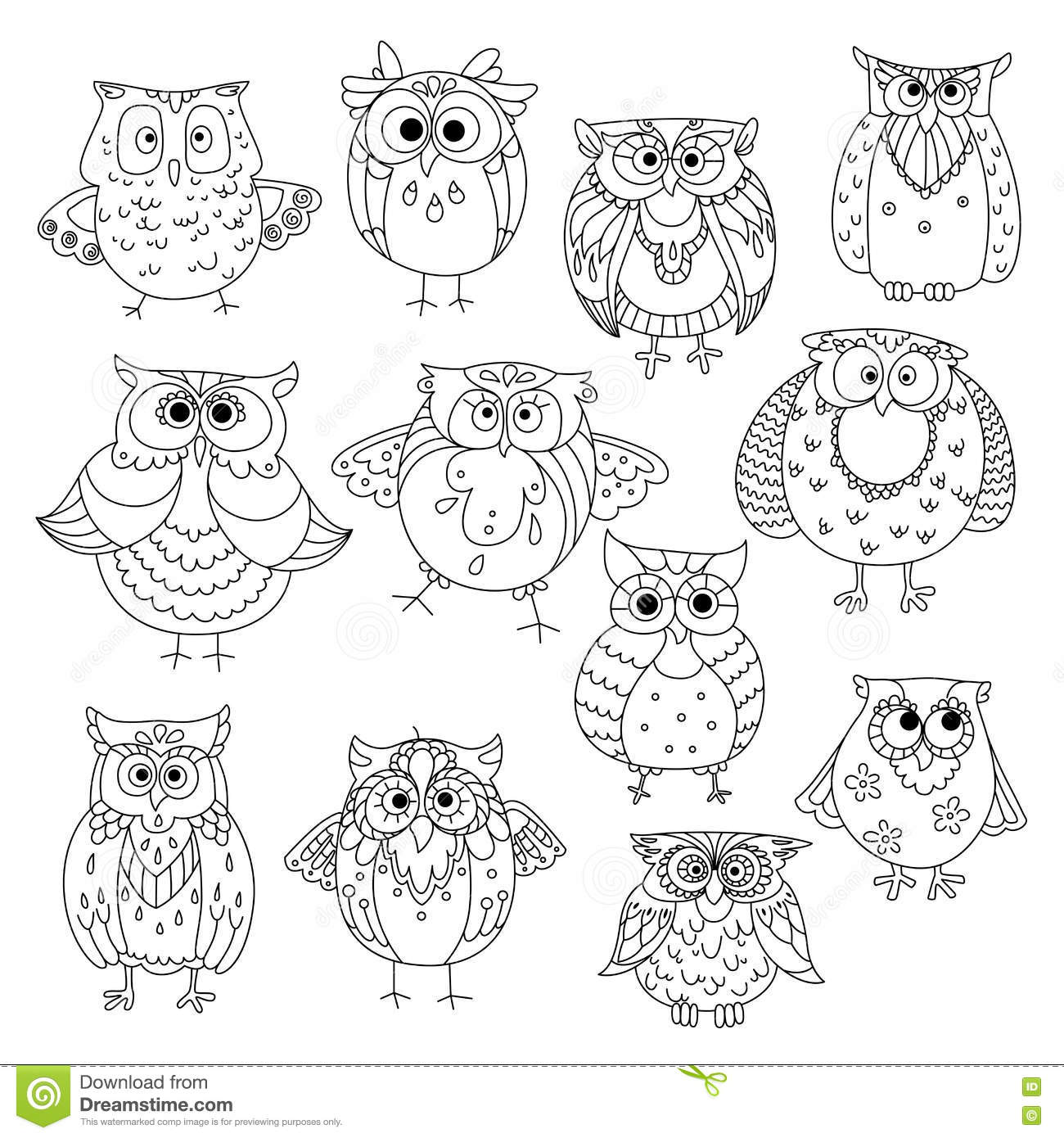 2f79df2dd Decorative sketches of cute owls with young owlets, wise horned owls and  funny barn owls, adorned by fluffy feather patterns, wavy lines and flowers.
