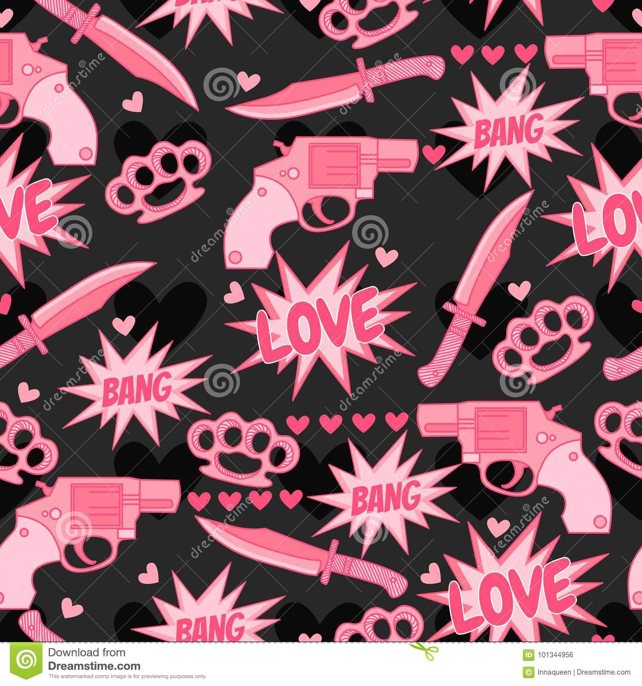 Funny Pattern With Pink Guns Knife Brass Knuckles And More