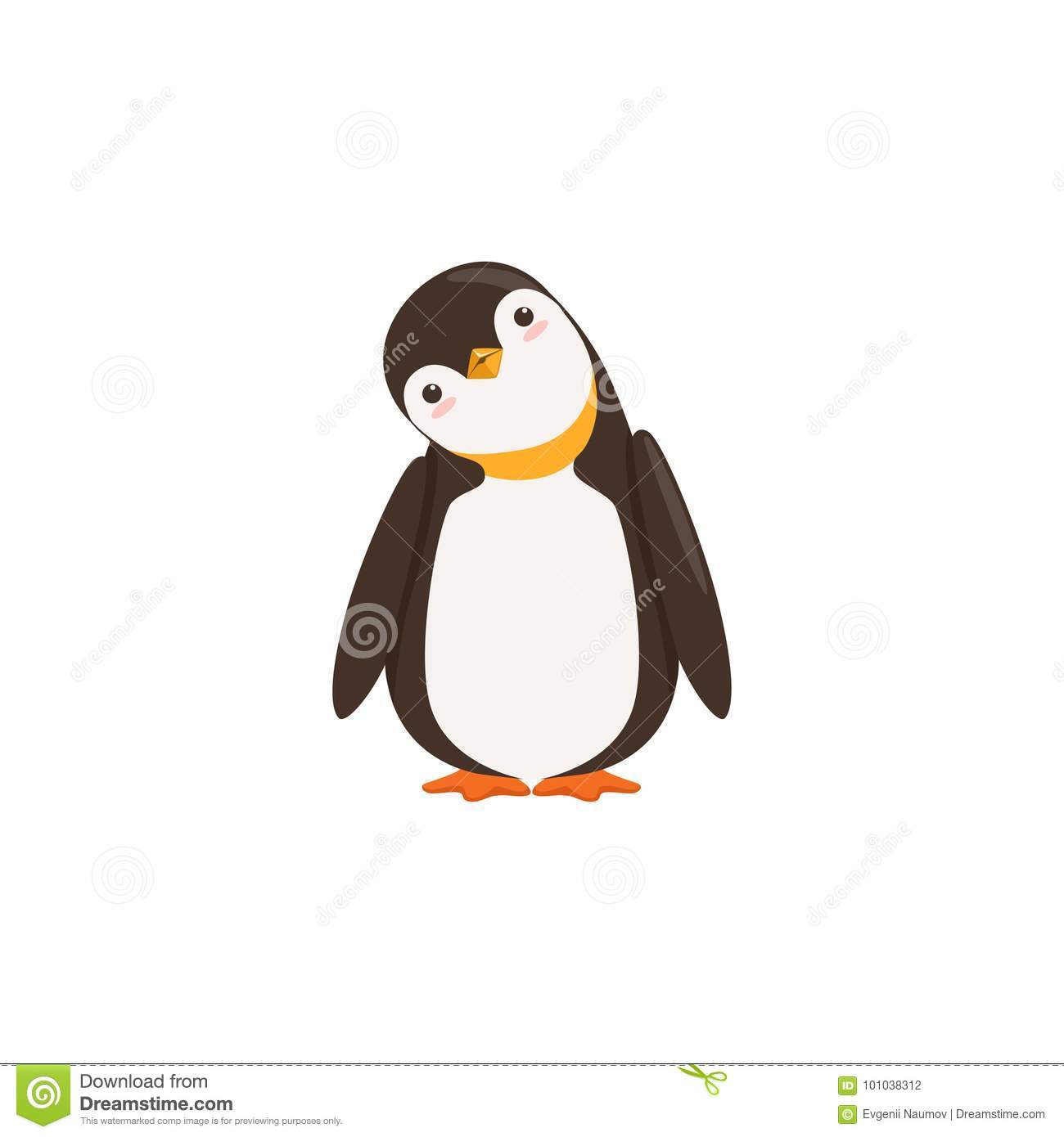 A Funny Penguin Toon Is Tilting His Heard With White Background Vector Stock Vector Illustration Of Pose Cartoon 101038312