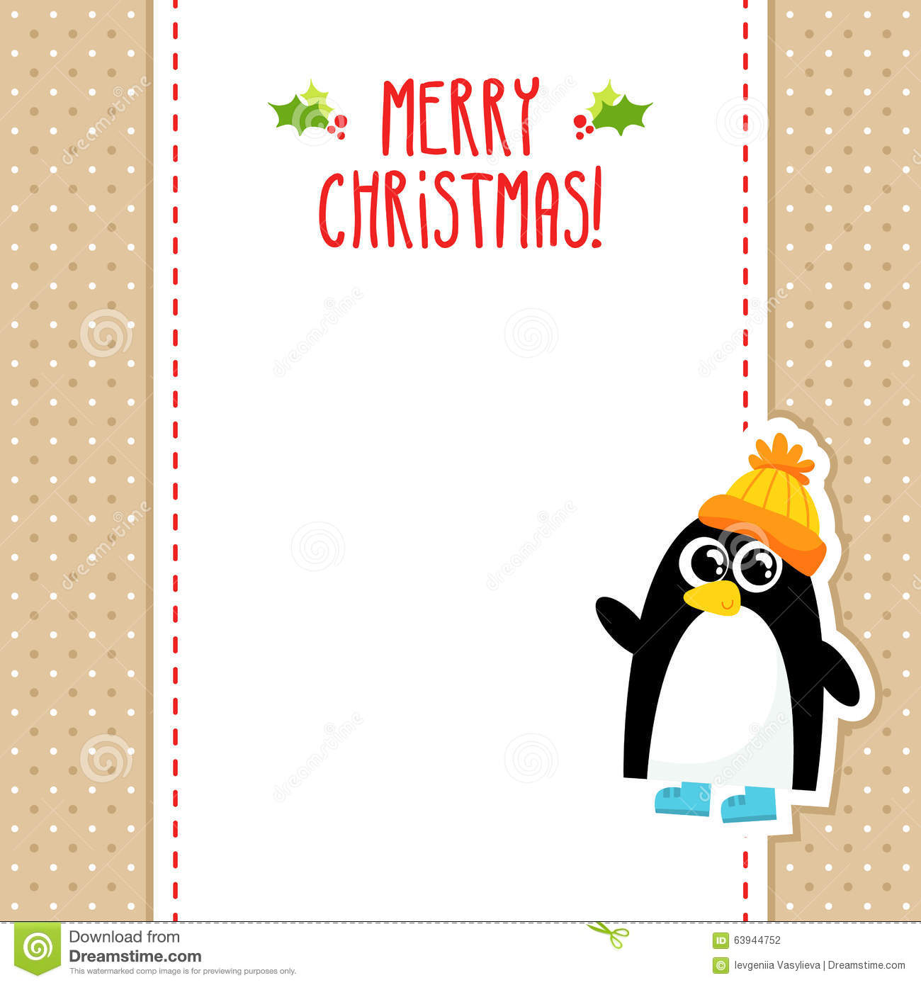 Funny Penguin Vector Christmas Greeting Card Design Template Stock - Christmas greeting card template
