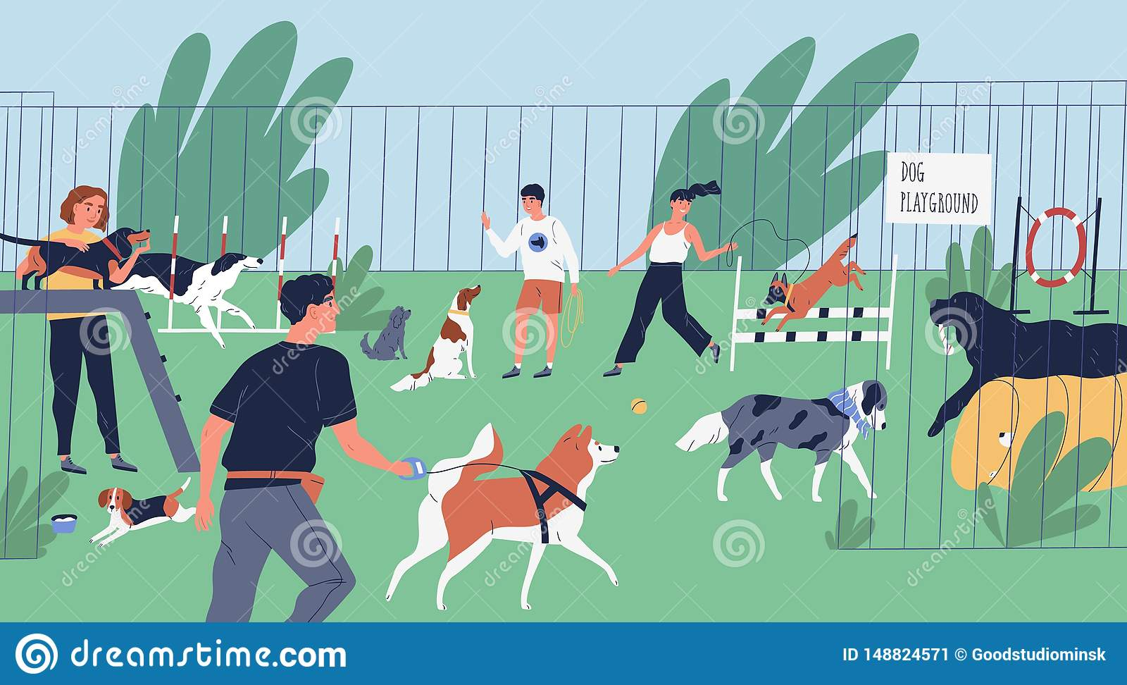 Funny people playing with dogs at playground, yard or park. Happy men and women training domestic animals outdoors