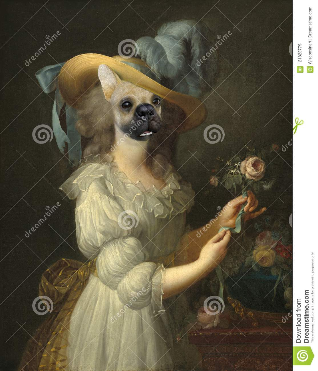 Funny Dog, Marie Anoinette, Surreal Oil Painting