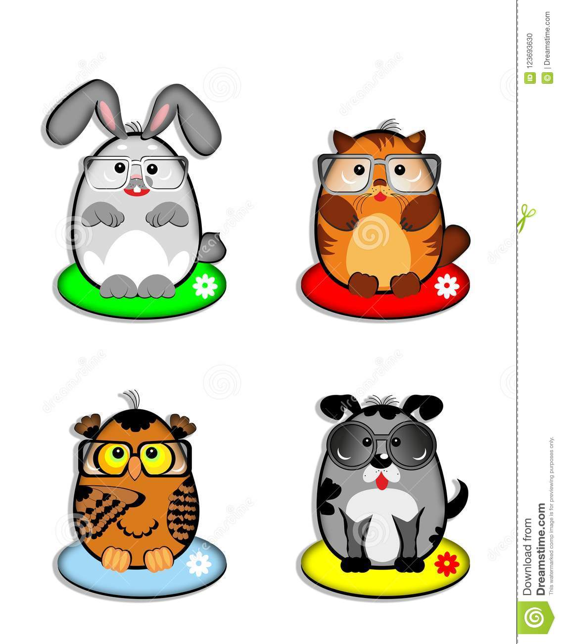 Funny pets, emotion, new, smiles, rabbit, cat, kitty, dog, puppy, owl, spectacle,vector, illustration