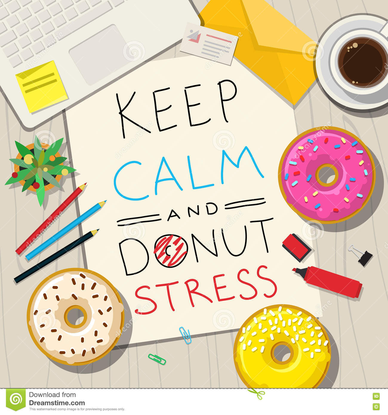 Funny Phrases About Stress Stock Vector Image 71573899