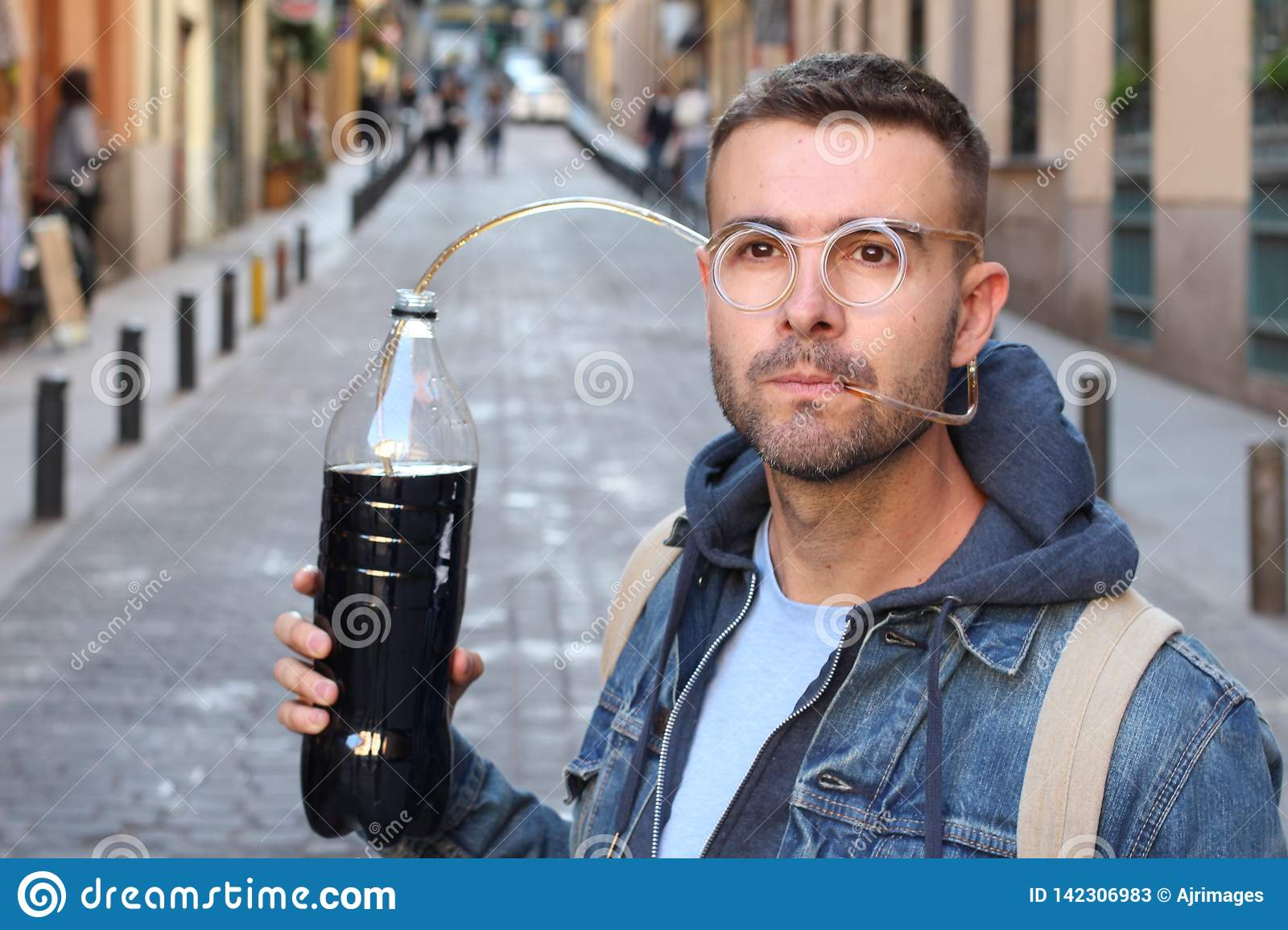 Funny pic of man addicted to soda