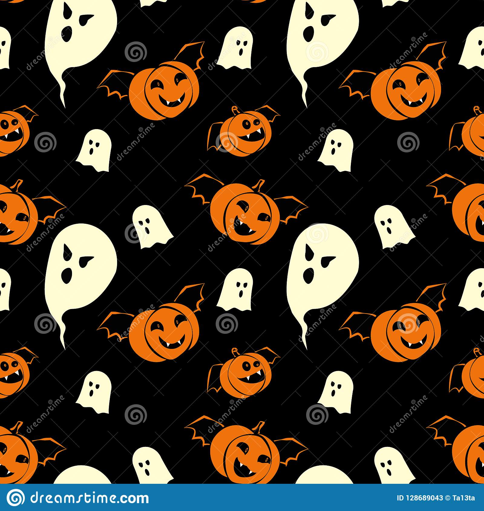 Halloween Seamless Pattern Design With Ghosts And Pumpkins