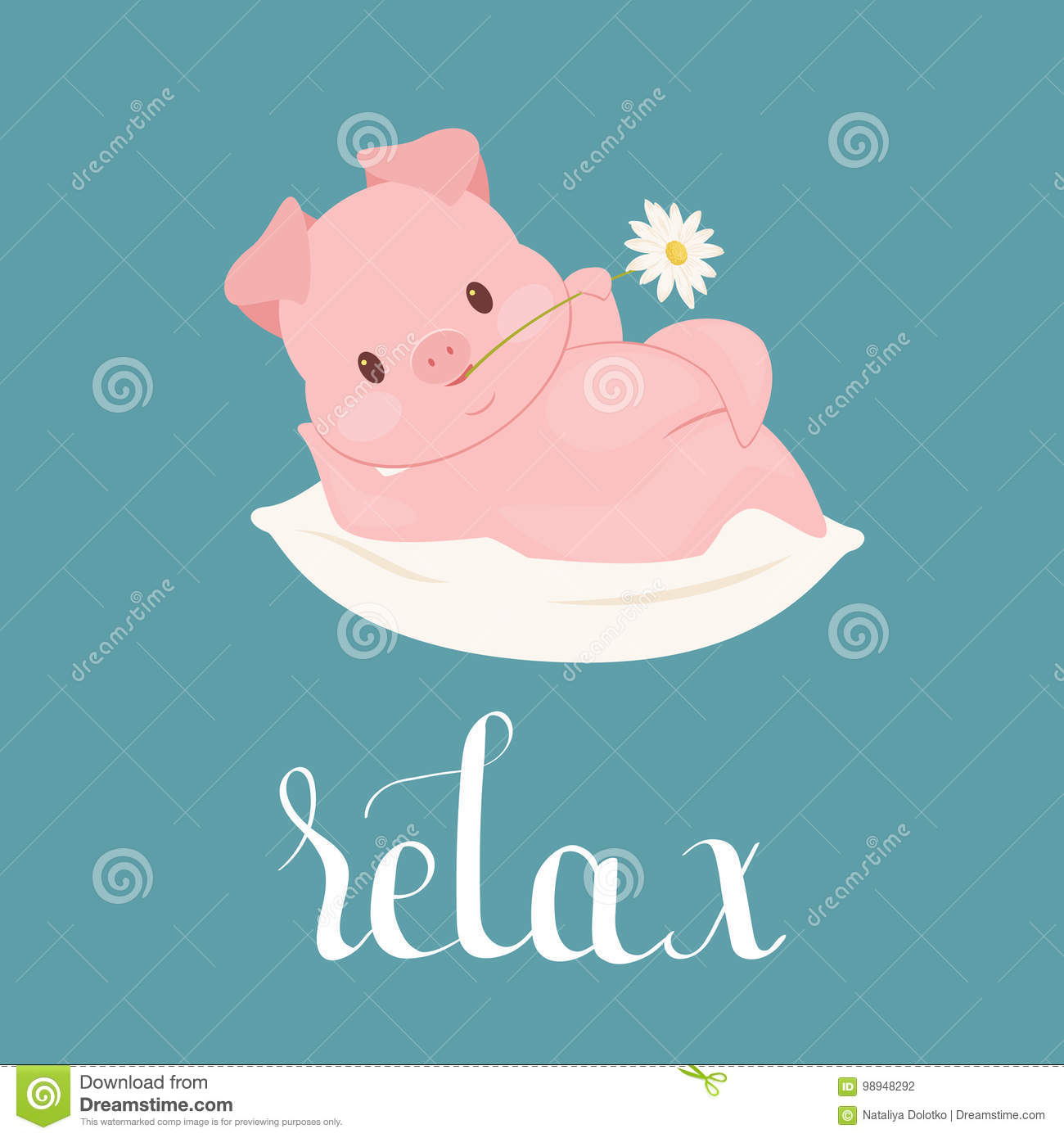 Funny pig character laying on a pillow with flower in mouth. Poster, greeting card, wall art or wallpaper template. Vector art.