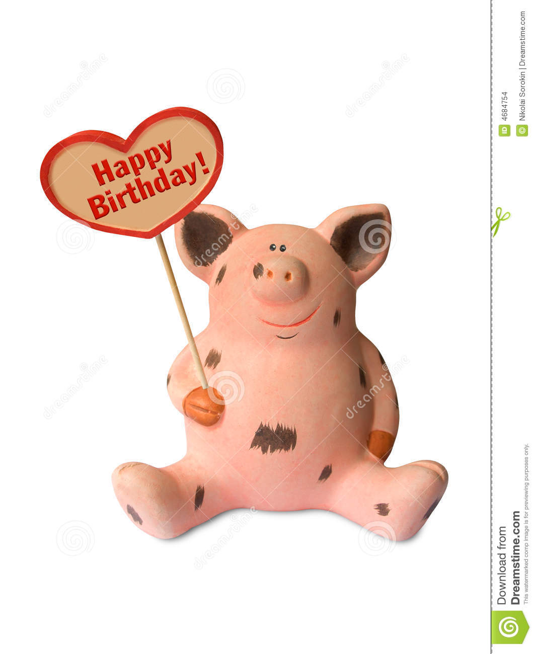Funny Pig With Heart Happy Birthday Stock Images Image