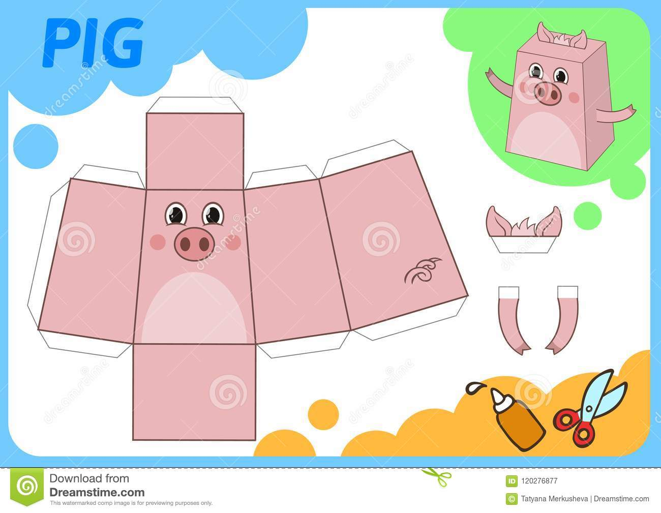 Funny Pig Paper Model Small Home Craft Project DIY Game Cut Out