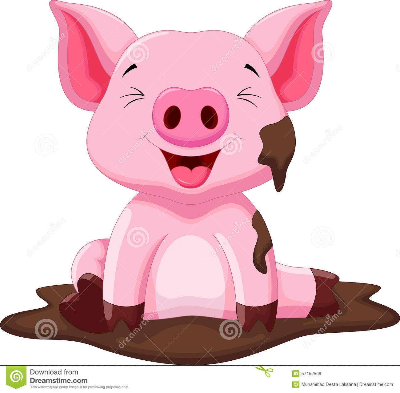 Download Funny Pig Playing In The Mud Stock Illustration