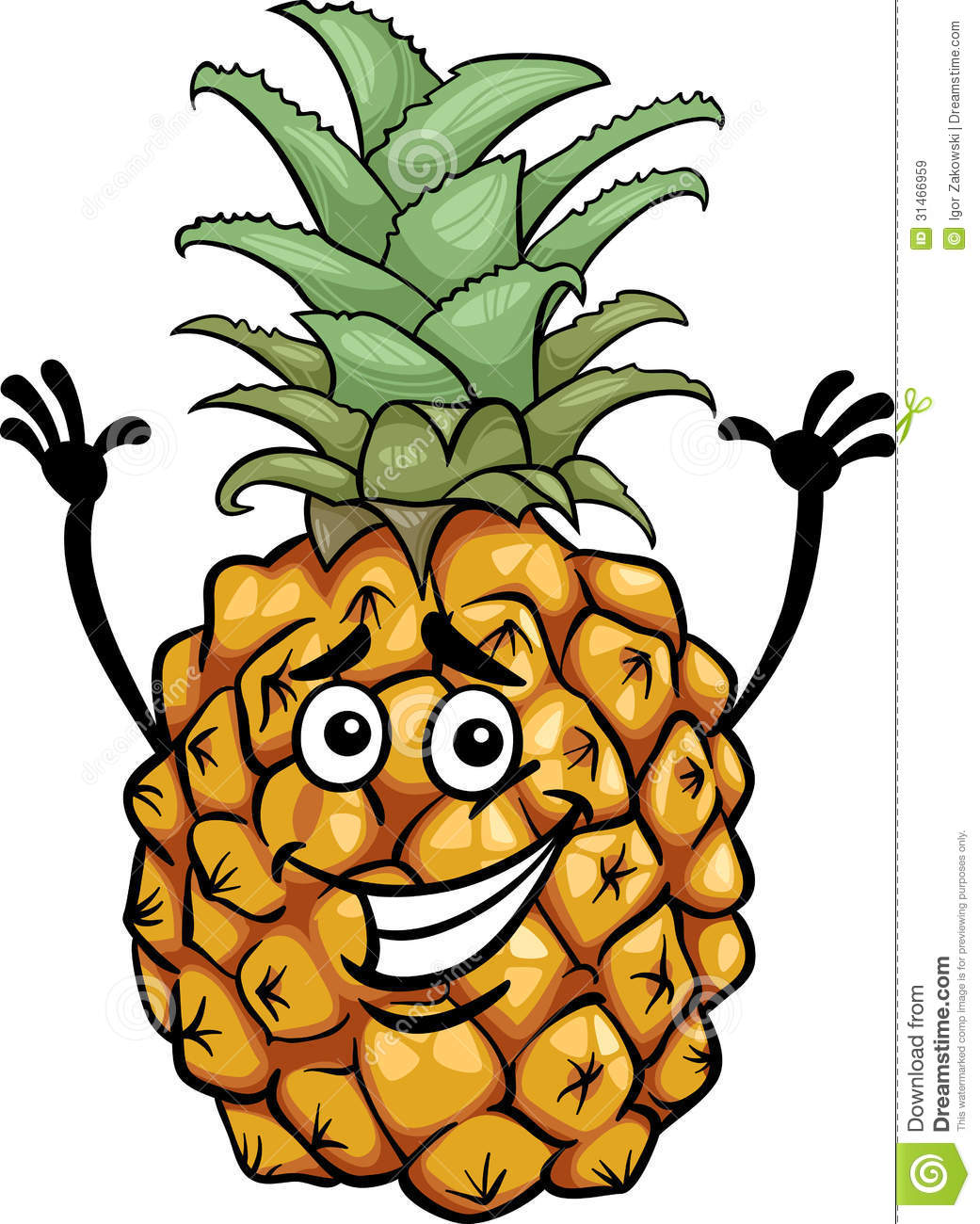 Funny Pineapple Fruit Cartoon Illustration Royalty Free Stock Images ...