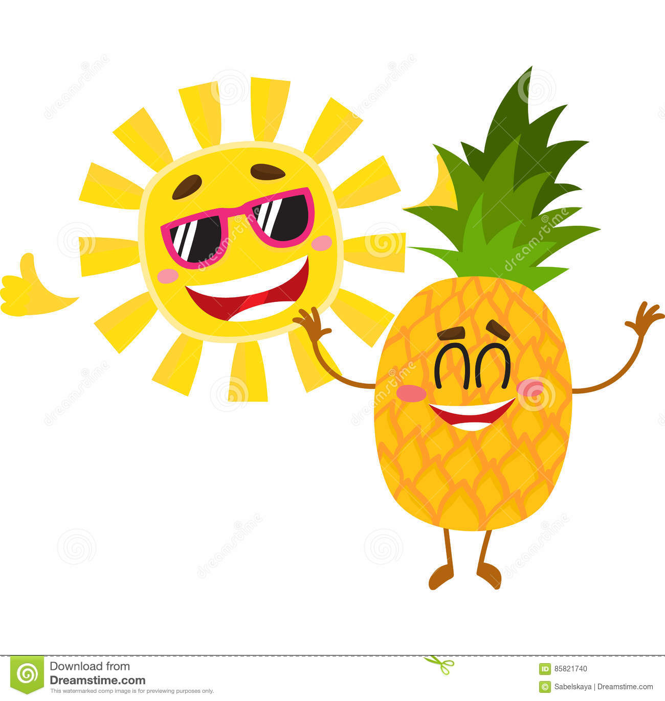 Funny Pineapple And Sun Characters Enjoying Summer