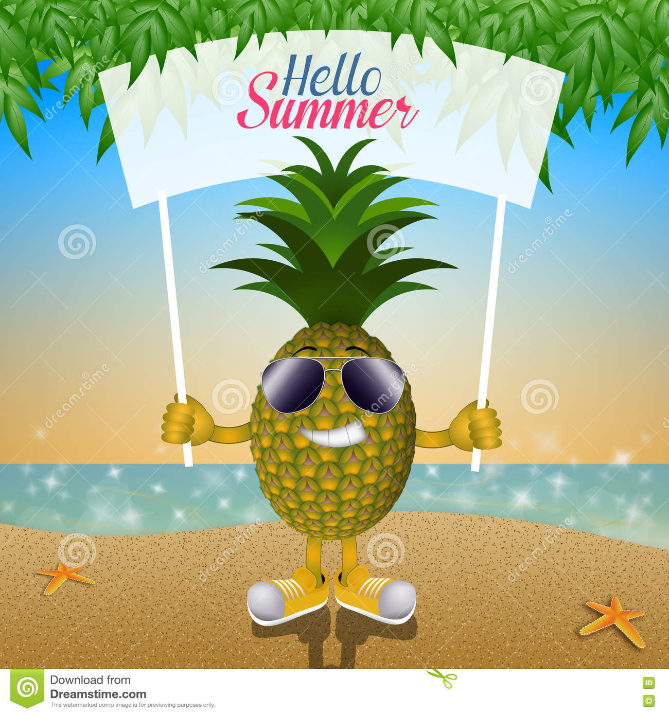 pineapple with sunglasses clipart. funny pineapple with sunglasses on the beach stock images clipart