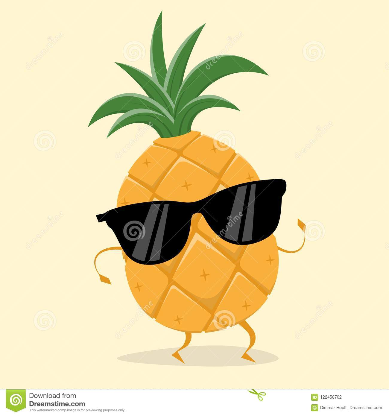 Funny Pineapple With Sunglasses Stock Vector ...