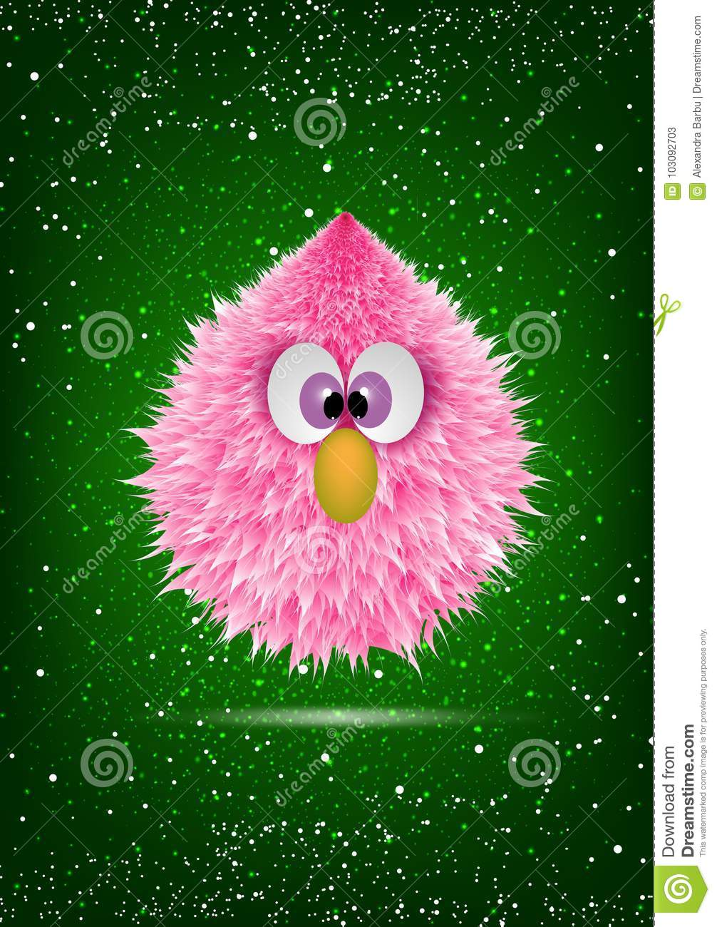 Funny Pink Baby Hairy Monster Face Cartoon