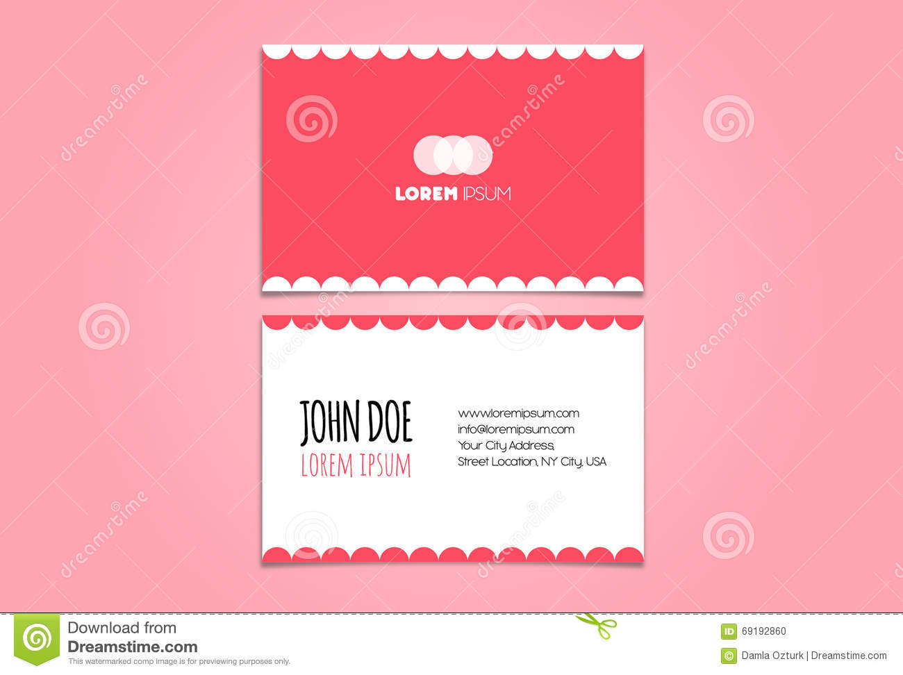 Funny Pink Business Card Design Template Stock Vector - Image ...