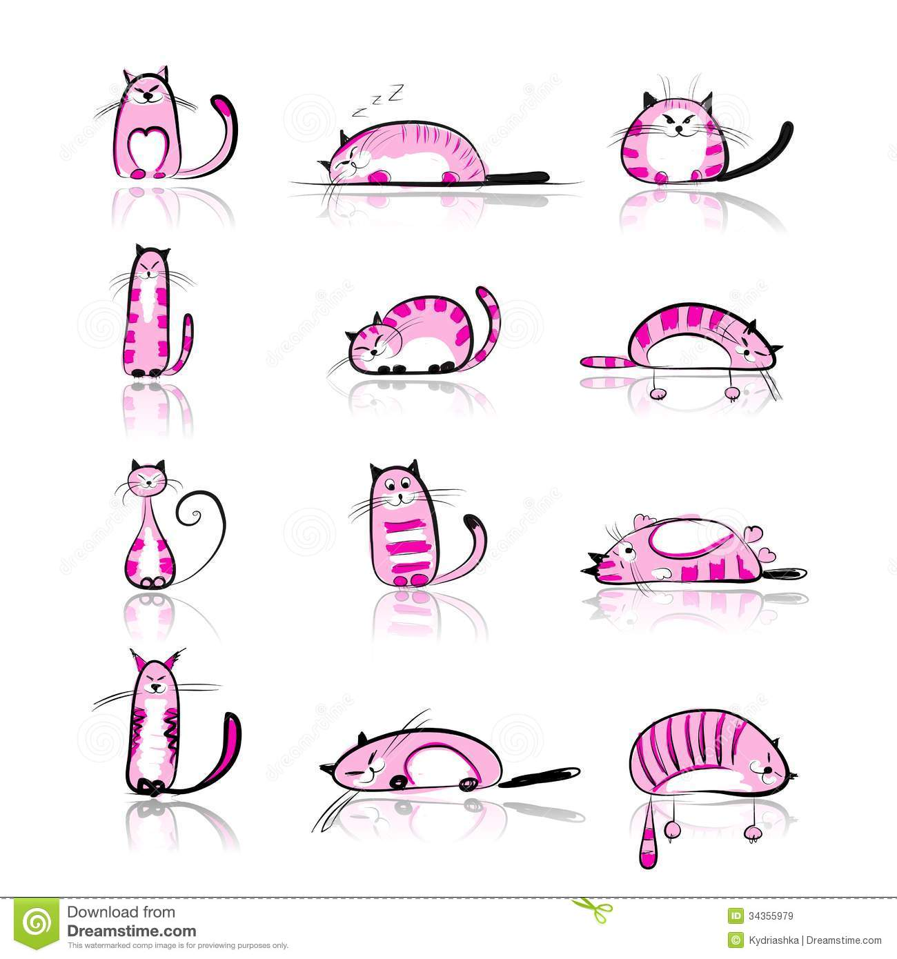 Funny Pink Cats Collection For Your Design Stock Vector ... - photo#6
