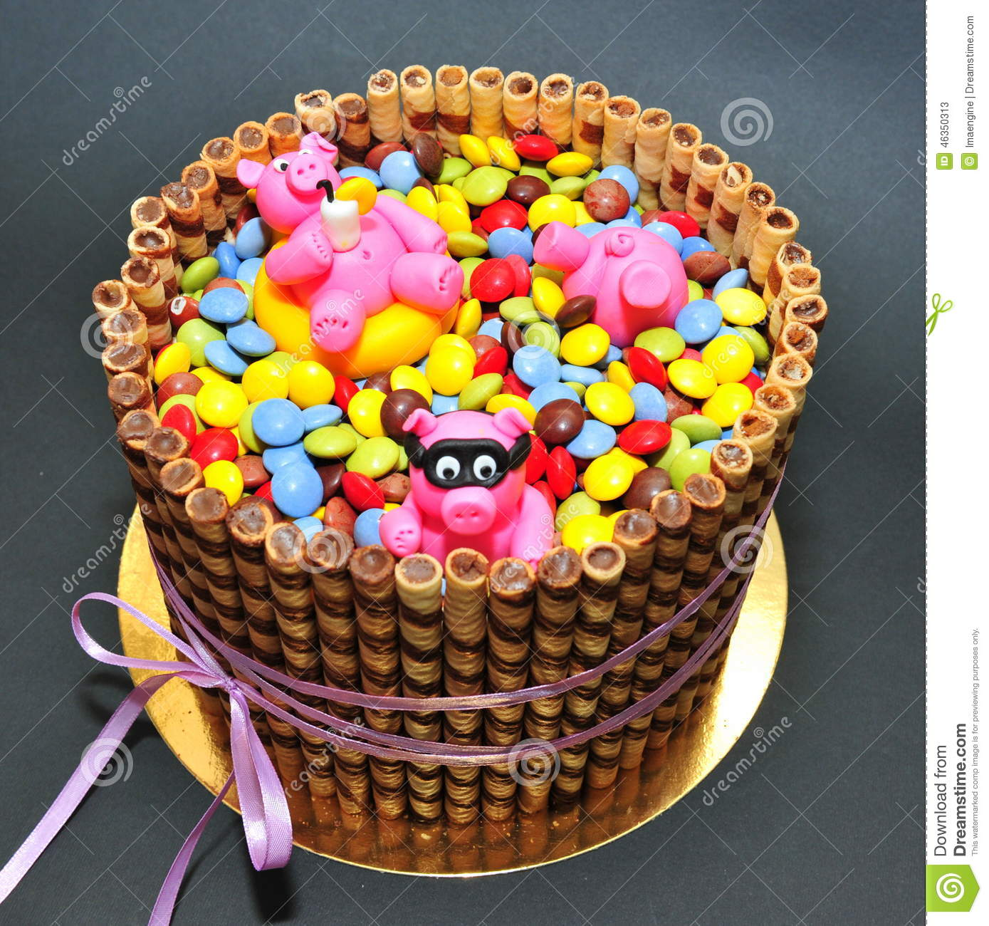 Tremendous Funny Pink Piglets In A Pool Of Candy Birthday Cake Stock Image Personalised Birthday Cards Cominlily Jamesorg