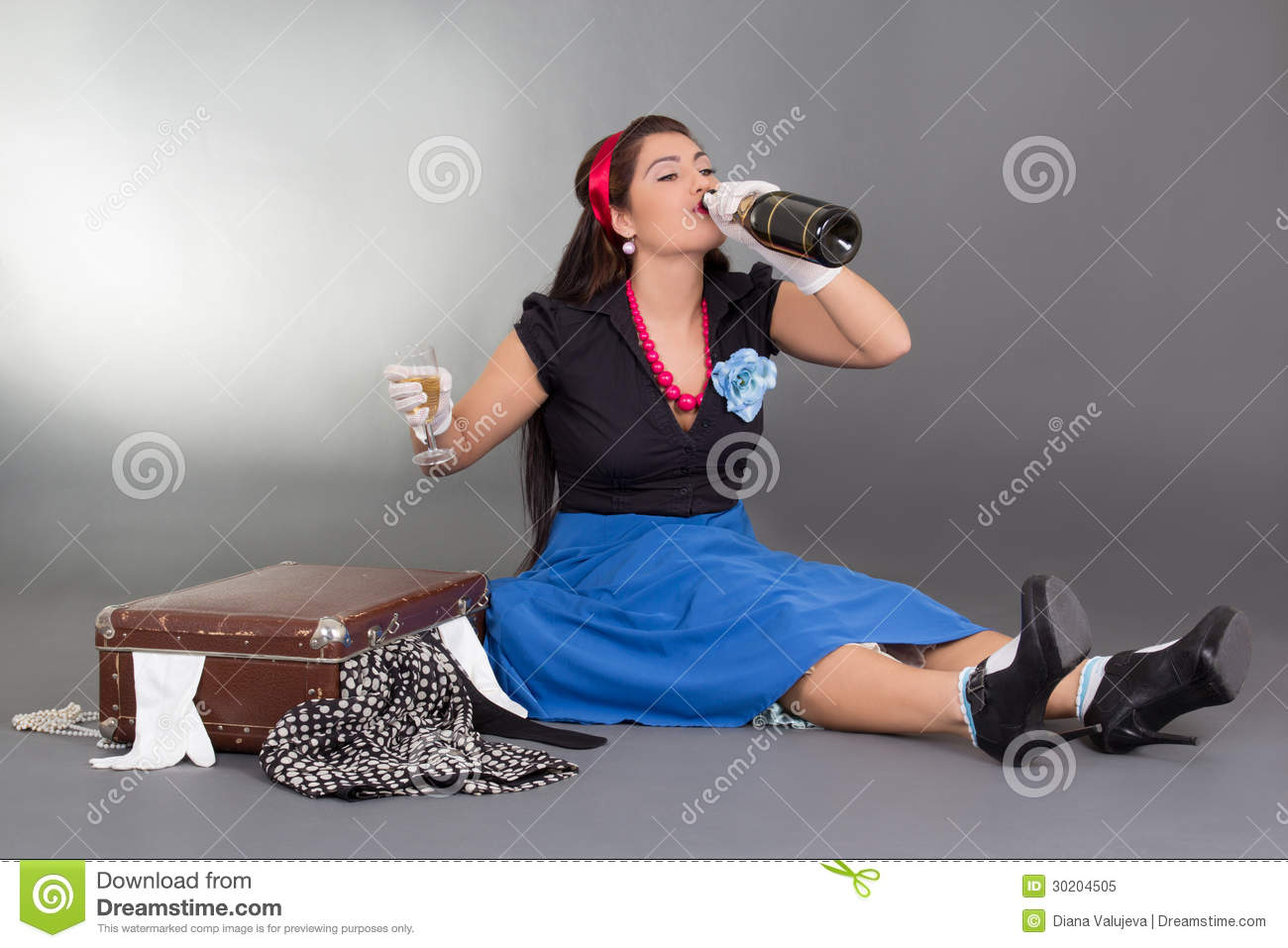 Sitting Pinup Girl Drinking Champagne Stock Image Image