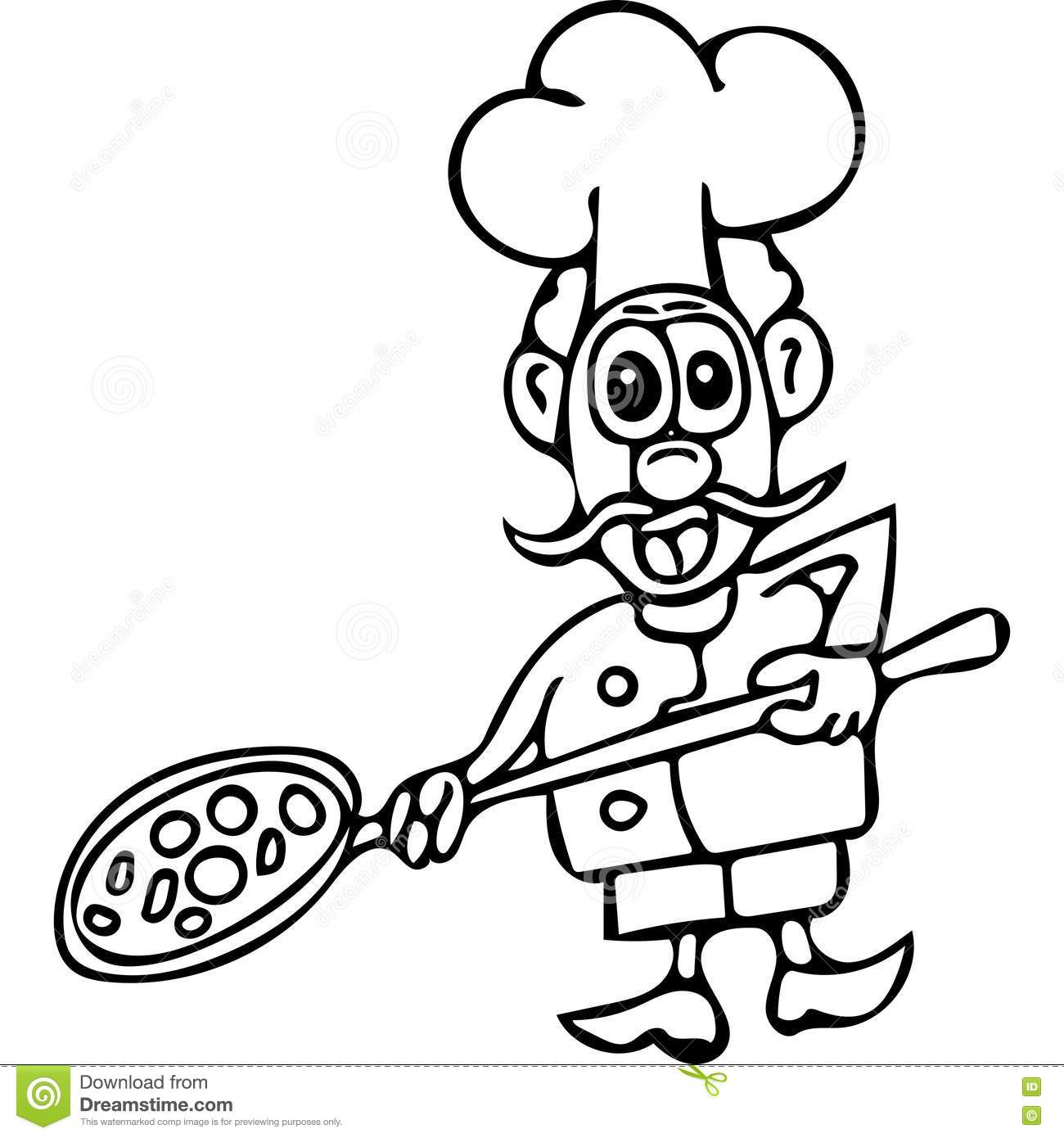 Funny Pizza Cook Coloring Pages Stock Illustration - Illustration of ...