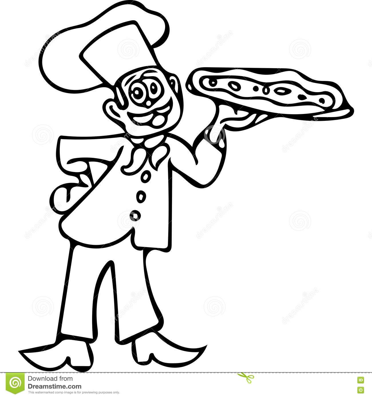 funny pizza cook coloring pages stock illustration image 82210903