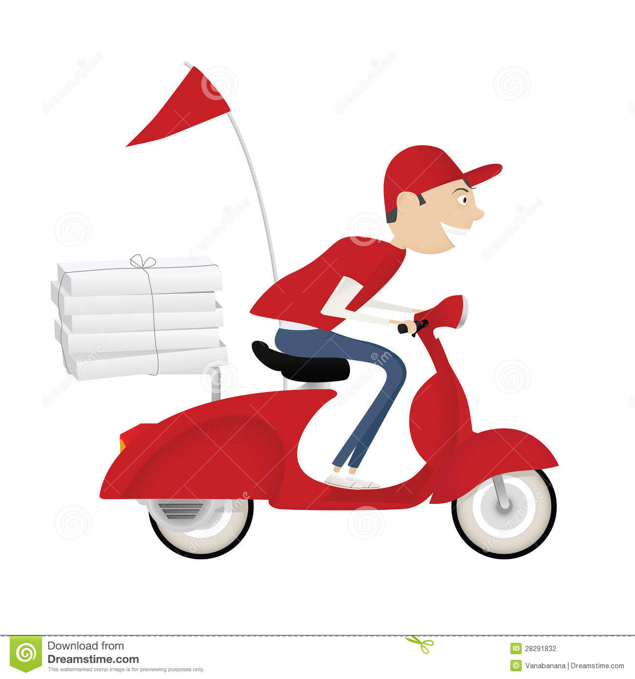 Funny Pizza Delivery Boy Riding Motor Bike Stock Vector ...
