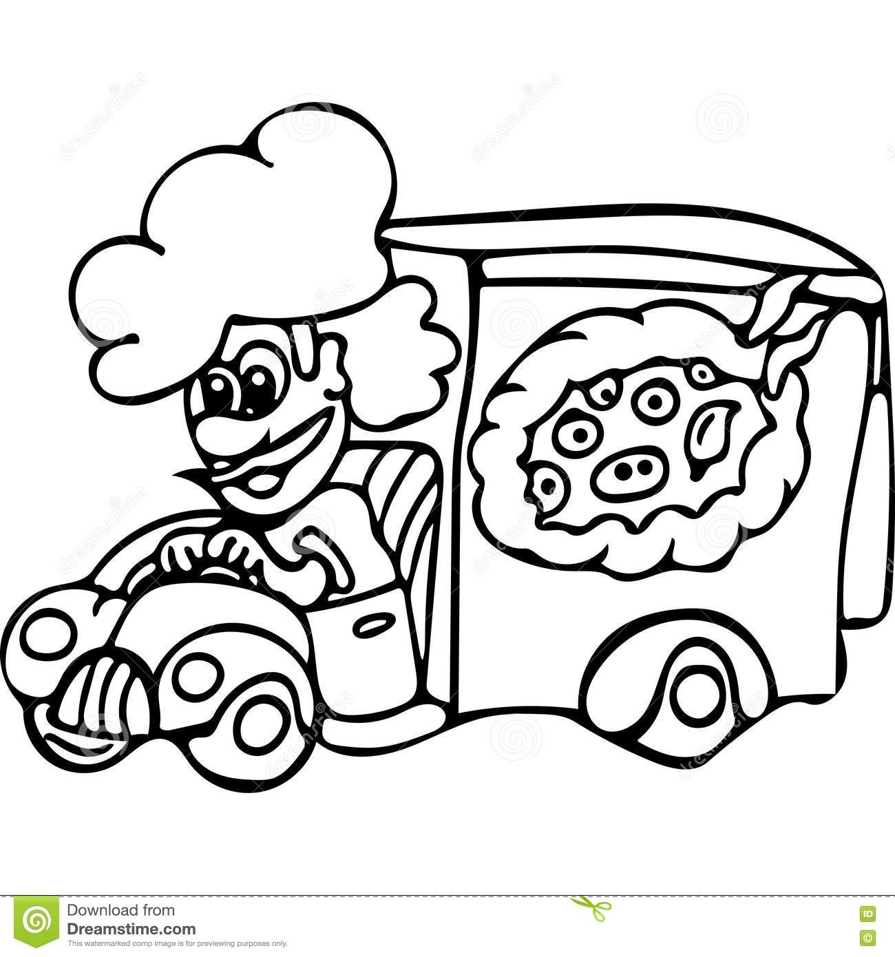 Funny Pizza Delivery Kids Coloring Pages Stock Illustration