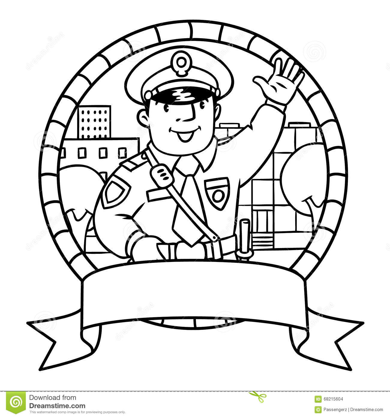 Funny Policeman. Coloring Book Stock Illustration - Image: 68217653