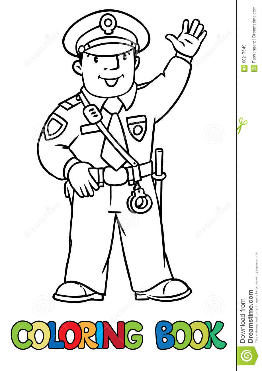 Funny Policeman. Coloring Book Stock Illustration - Illustration of ...