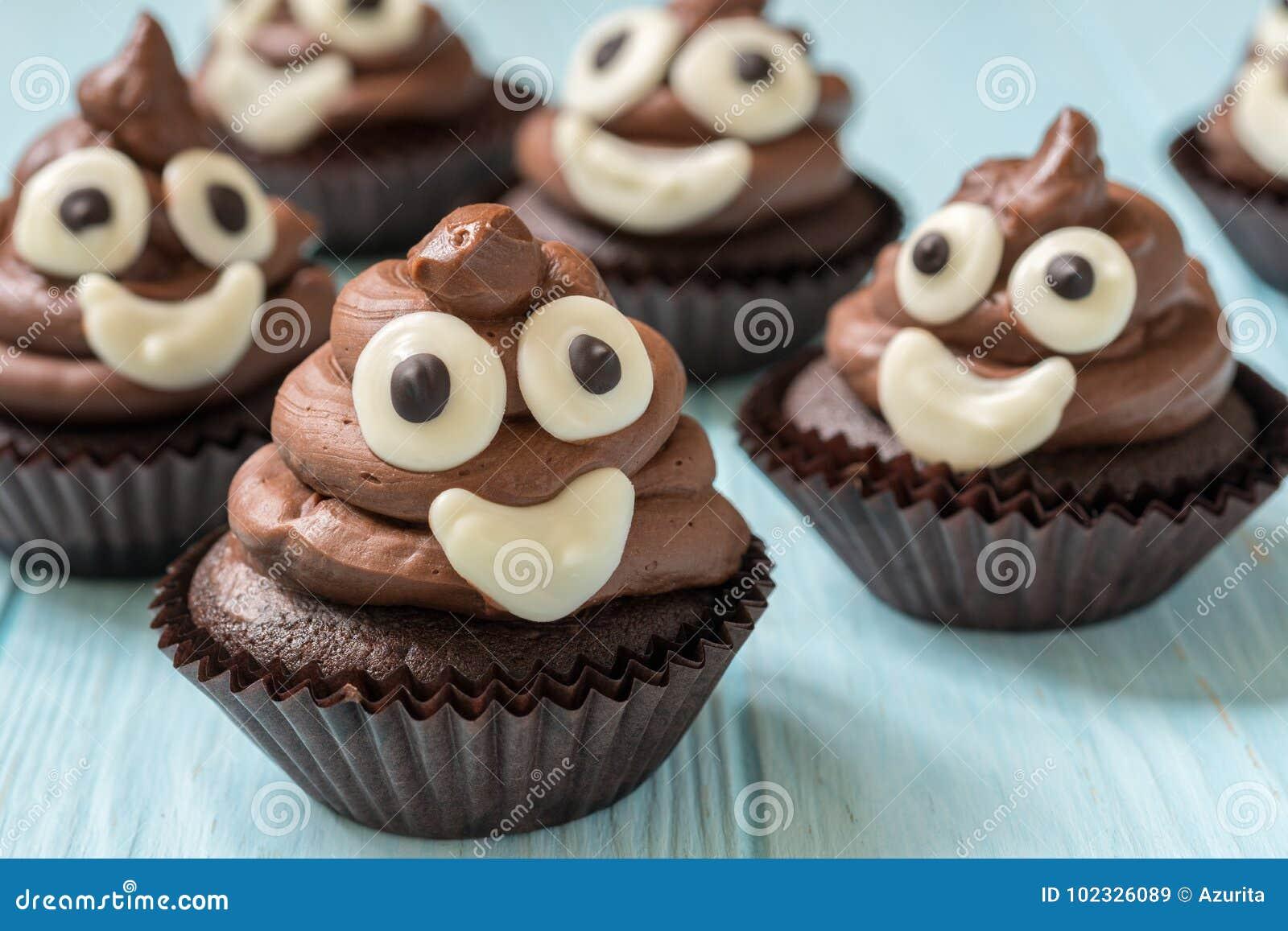 Funny Poop Emoji Chocolate Cupcakes Cute Food Dessert