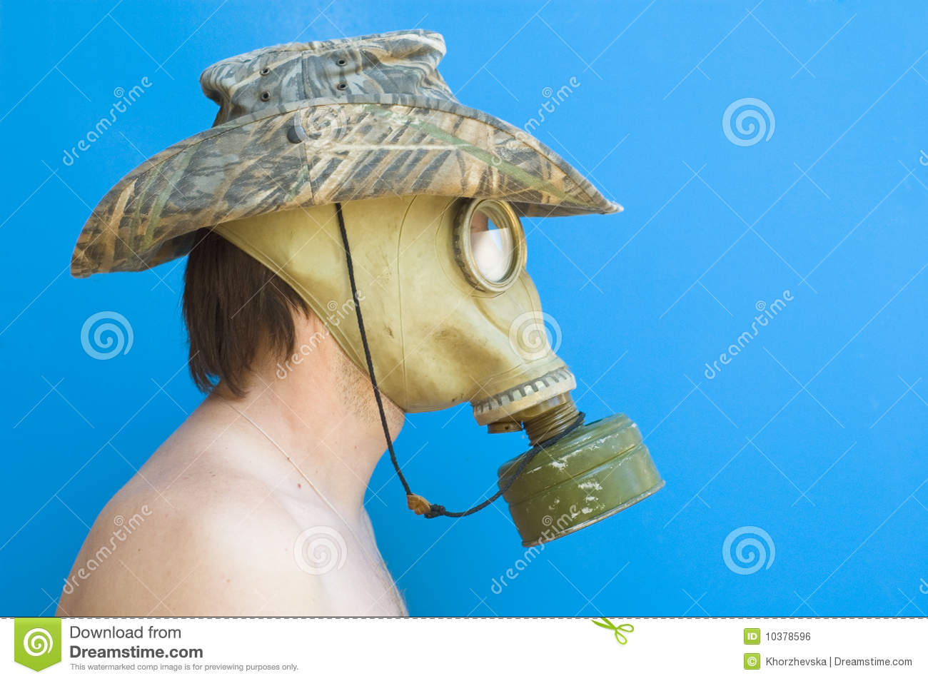 funny portrait of man with gas mask and hat stock photo image of