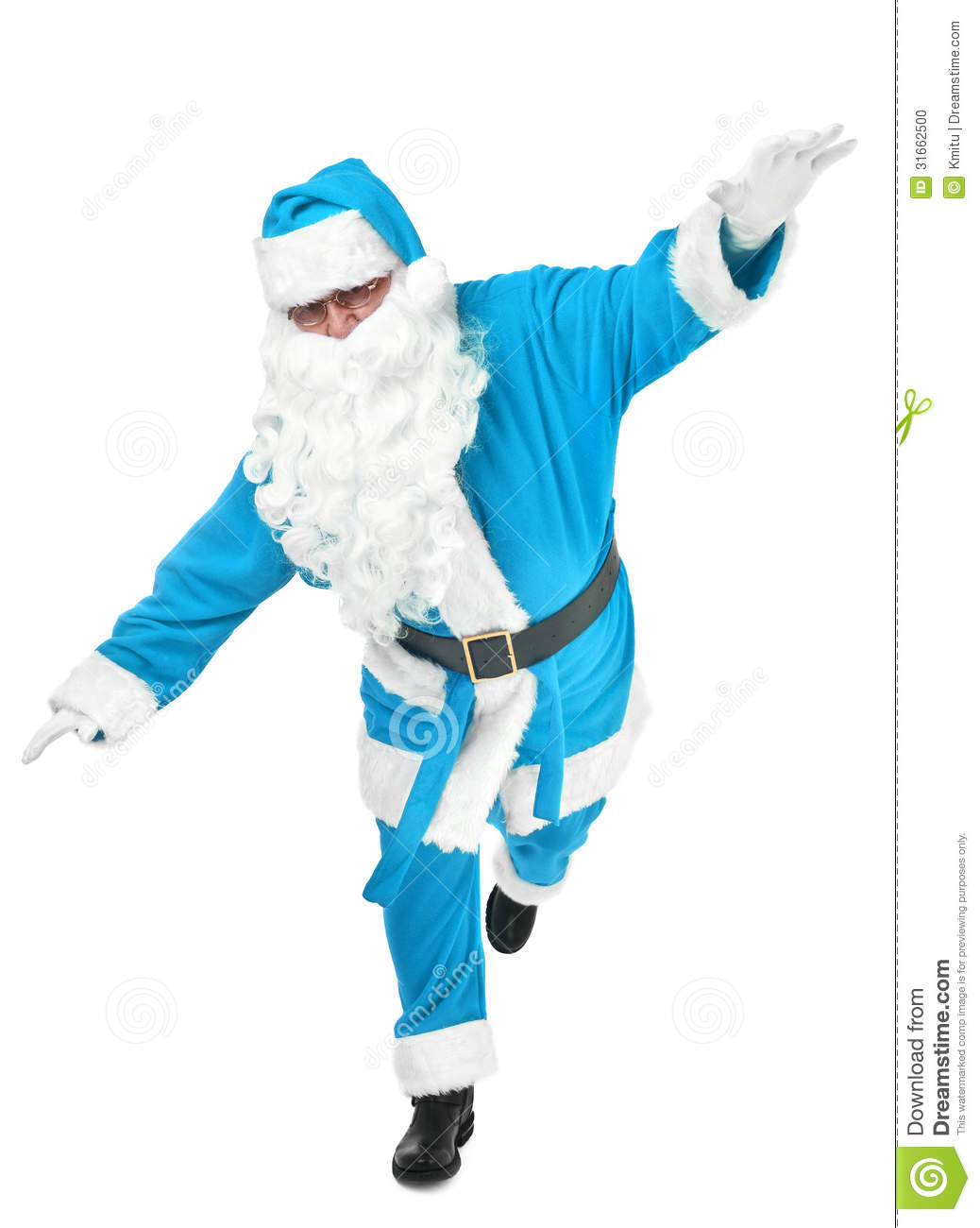 Funny Pose Of Blue Santa Claus Stock Photo Image 31662500