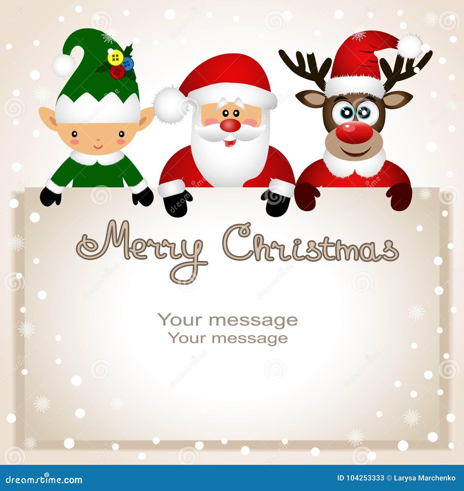 Funny Postcard With Christmas Elf Christmas Reindeer And Santa
