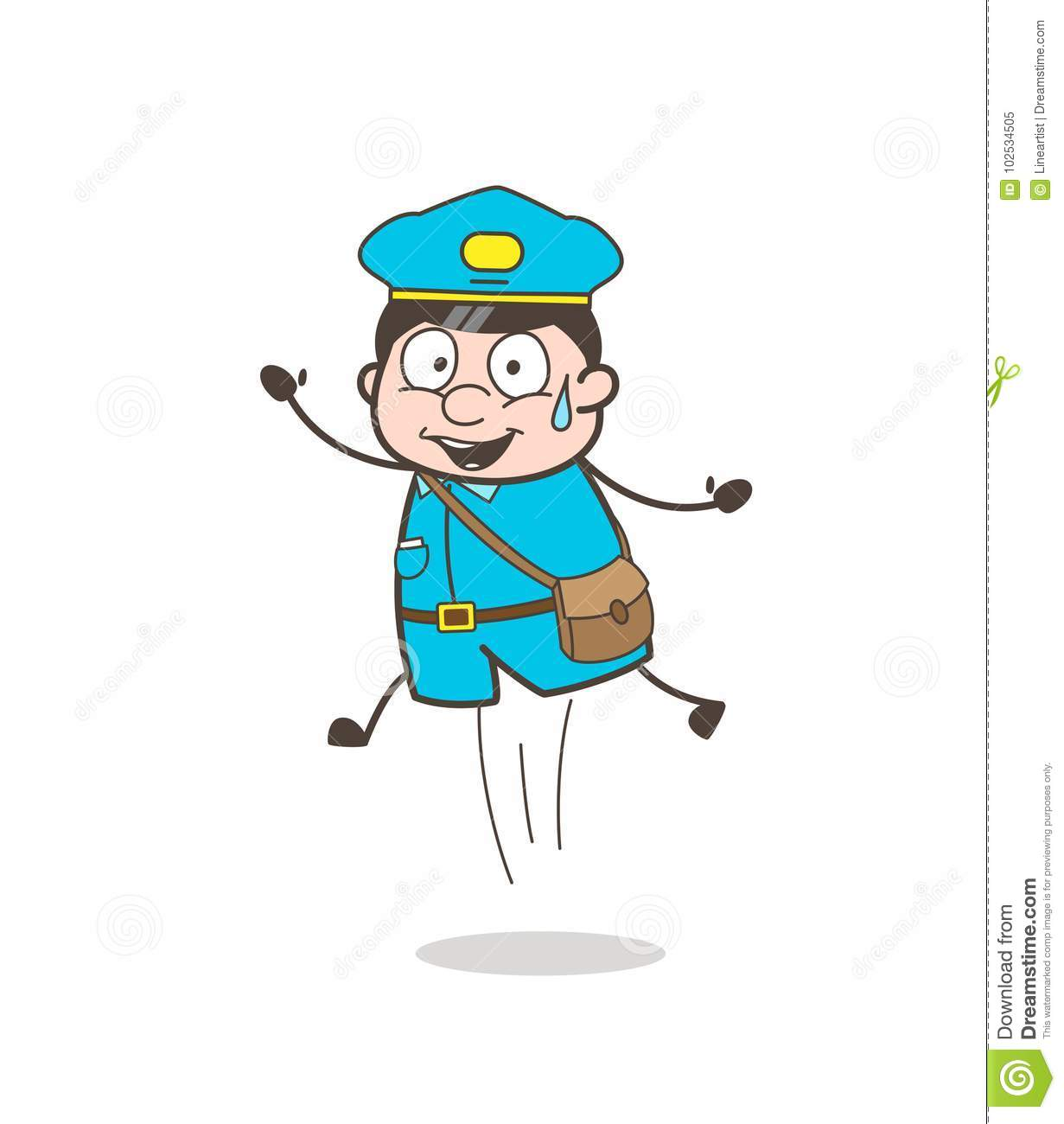 Funny Postman Character Jumping In Excitement Stock