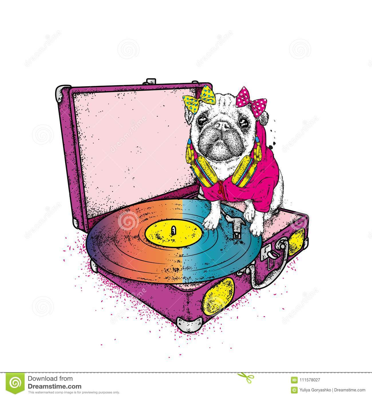 Funny pug with a bow sits on the turntable for vinyl records. Beautiful thoroughbred dog. Vector illustration. Cute puppy.