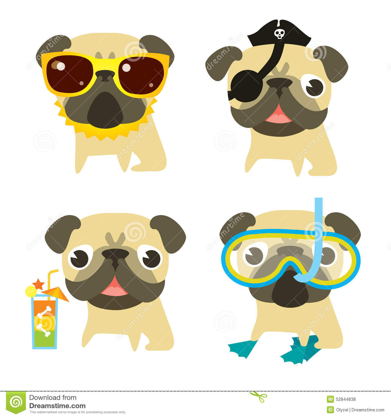 Funny Pug Dogs In Different Summer Holiday Situation. Stock ...