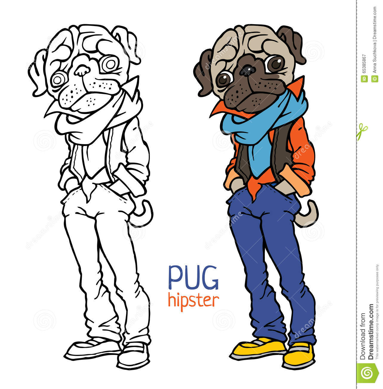 Funny Pug Dressed Like Hipster Stock Vector - Image: 65385867