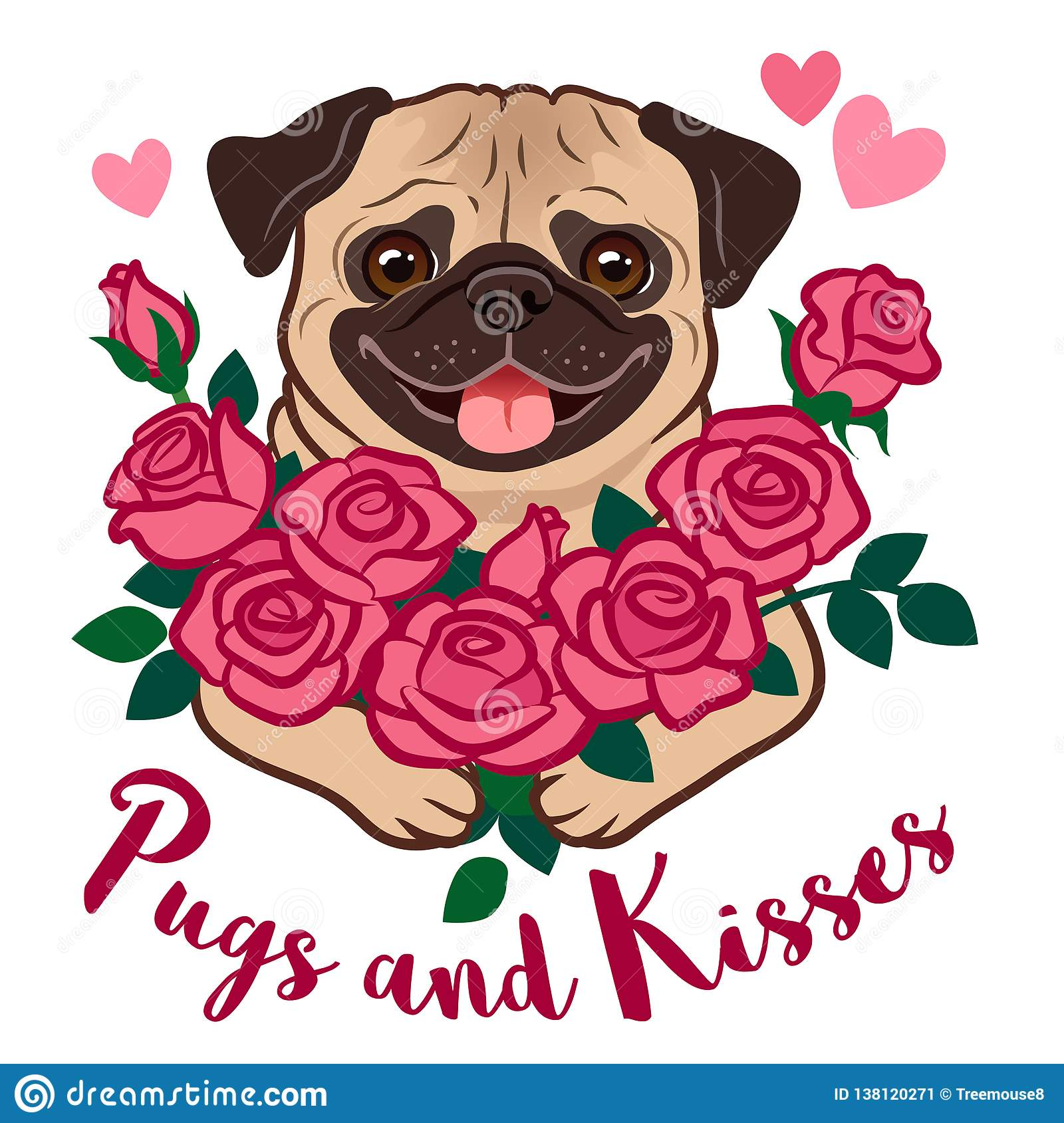 3079ff2c08c Funny Pug Puppy Dog Holding A Bunch Of Pink Roses