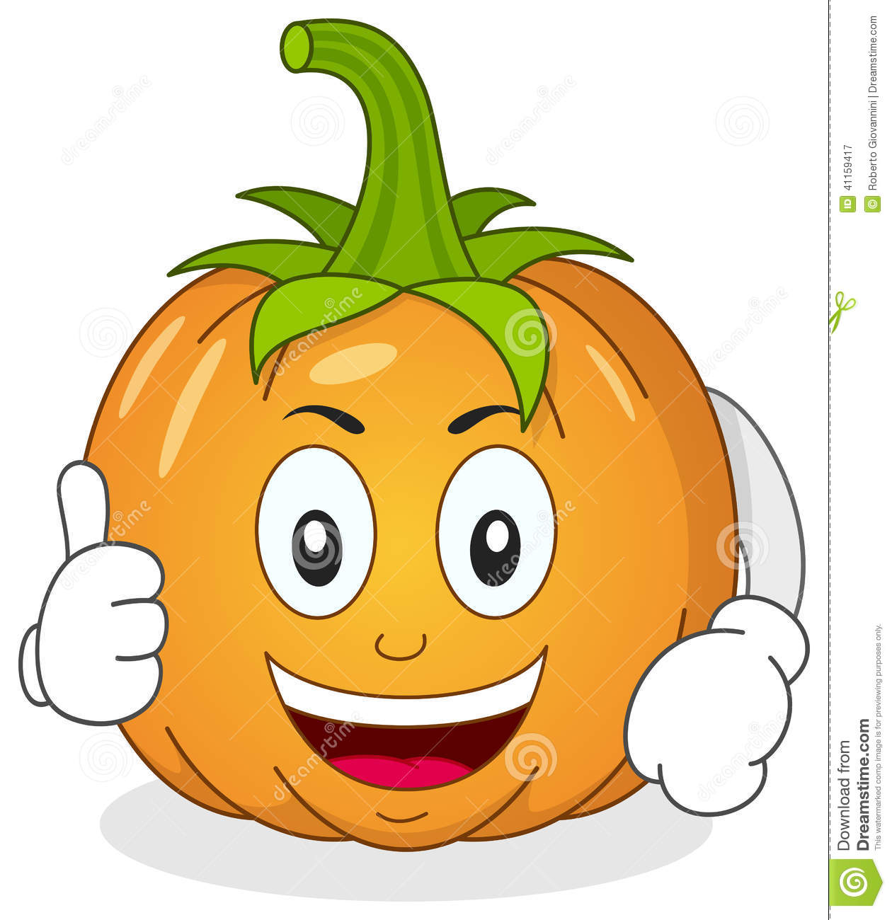 Funny pumpkin character with thumbs up stock vector for Funny pumpkin drawings