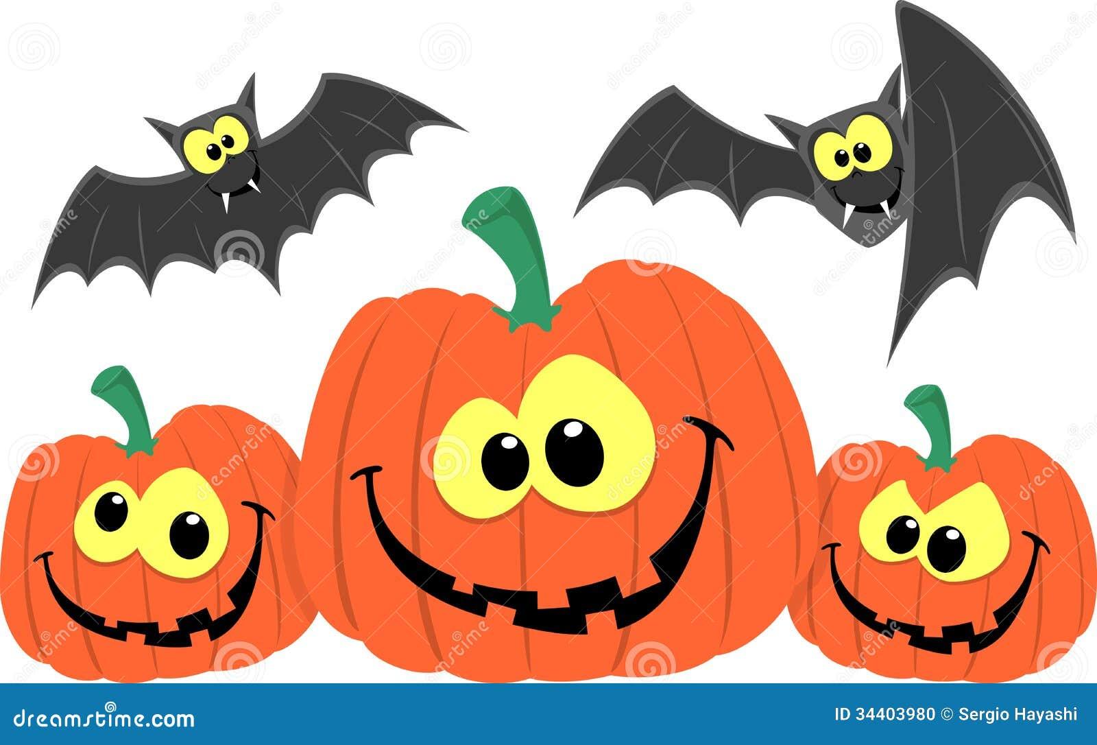 Funny pumpkins and bats cartoon stock vector image 34403980 for Funny pumpkin drawings