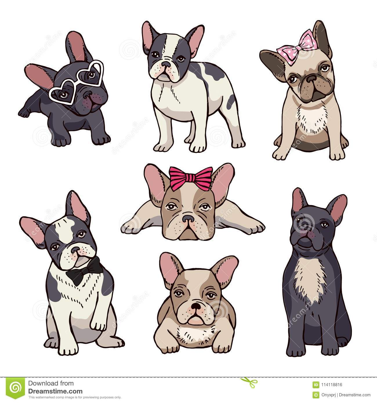 Funny Puppies Of French Bulldog Stock Vector Illustration Of