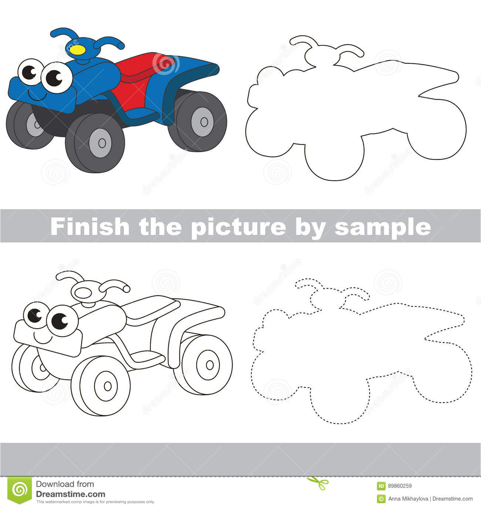 funny quad bike drawing worksheet stock vector illustration of