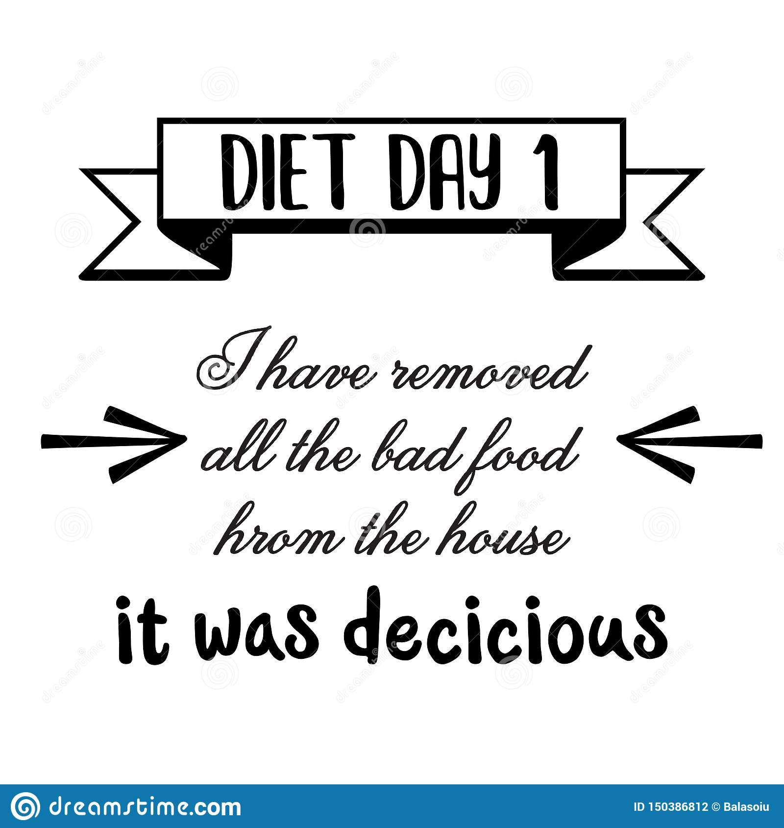 Funny quote about diet stock vector. Illustration of ...