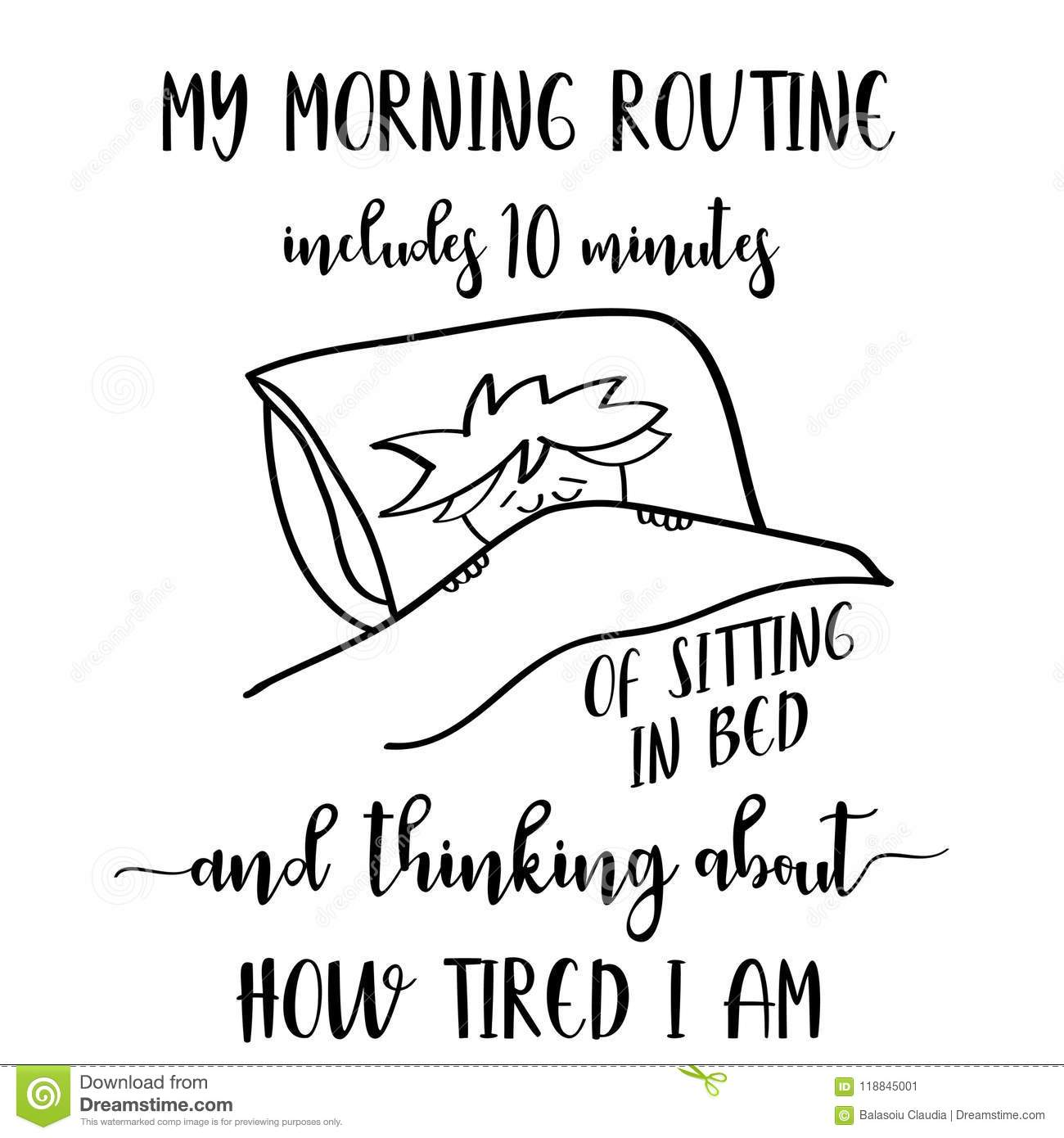 Funny Hand Drawn Quote About Morning Routine Stock Vector